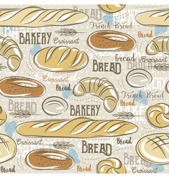 Background with different breads croissant wheat vector