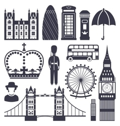Silhouette symbols of great britain kingdom vector