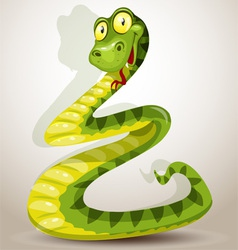 Funny green cheerful snake vector