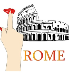 A big kiss from the Colosseum in Rome vector image