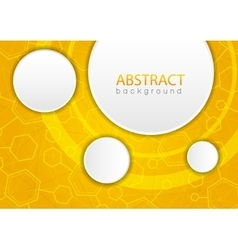 Abstract yellow background with hexagon vector image