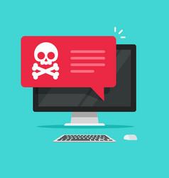Alert notification on desktop computer vector