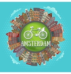 Amsterdam houses little green planet vector