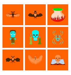 Assembly flat book skull ghost bat spider zombie vector