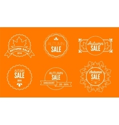 Autumn sale discount logos and emblems vector