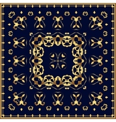 Bandana with gold pattern on a blue background vector image vector image