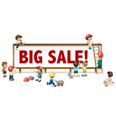 big sale sign with little children in background vector image vector image