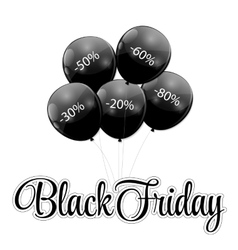 Black Friday Sale Icon with Balloons vector image