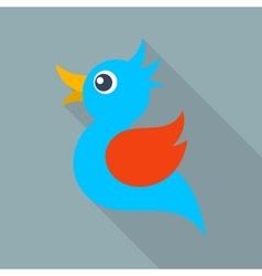 Blue bird icon long shadow vector