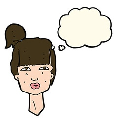 cartoon female head with thought bubble vector image vector image