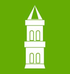 Castle tower icon green vector