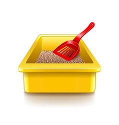 Cat litter tray isolated on white vector