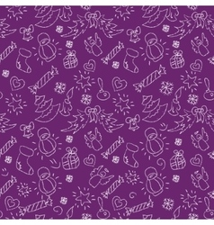 Christmas purple background hand drawn white vector image vector image