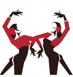 Couple of flamenco dancers in expressive vector