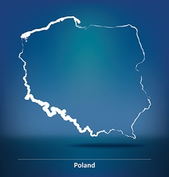 Doodle Map of Poland vector image vector image