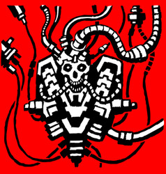 Fantastic metal skeleton in wires iron skull vector