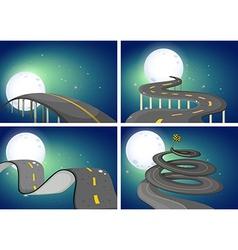 Four night scenes of empty roads vector