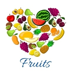 Fruits heart exotic farm farvest poster vector