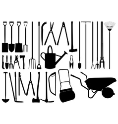 Gardening hand tool silhouettes vector image vector image