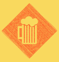 Glass of beer sign red scribble icon vector