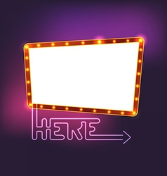 Glowing vintage board Template for a text vector image