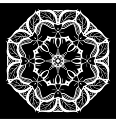 Mandala white on black ethnic monochrome vector