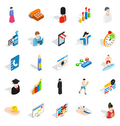 new worker icons set isometric style vector image vector image