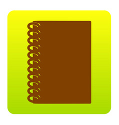 notebook simple sign brown icon at green vector image