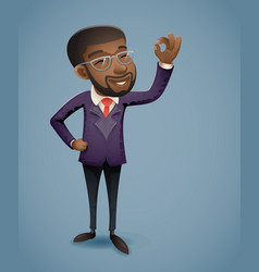ok hand afro american african european businessman vector image