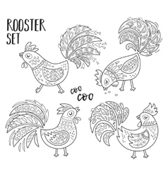 Outline set with chinese zodiac rooster vector