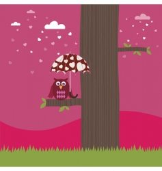 owl with heart umbrella vector image vector image