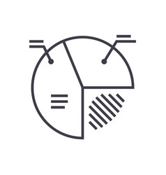 pie diagram sign line icon sign vector image