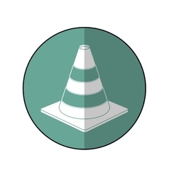 Road cone warning sign design green circle shadow vector