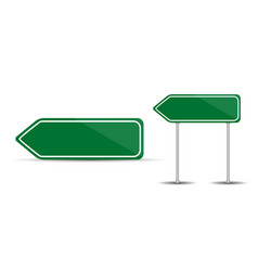 Road sign isolated on white background blank green vector