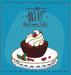 Round brownie with whipped cream on lacy napkin vector