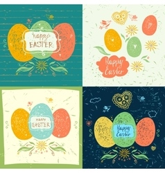 Set of easter hand lettering and doodles elements vector image vector image