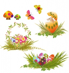 set of Easter holiday collection vector image vector image