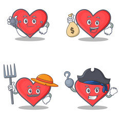 Set of heart character with doctor money bag vector