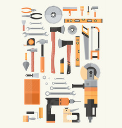 Set of repair and construction working hand tools vector