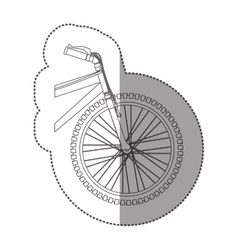 Silhouette sticker front part bicycle in closeup vector
