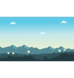 Spring landscape with mountain backgrounds vector