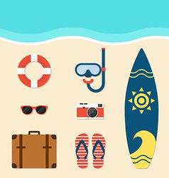 Summer elements flat design vector image vector image