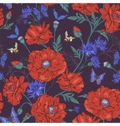 Summer Vintage Floral Seamless Pattern with vector image vector image