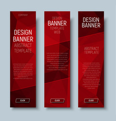 web banners with abstract polygonal red backgroun vector image vector image