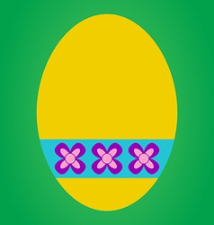 Yellow easter egg vector image