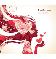 Beautiful girl silhouette with a hearts vector