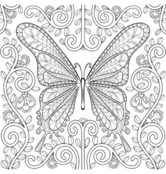 Adult coloring book with butterfly in flowers vector image