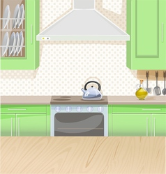 Interior of kitchen with stove and cupboards vector image