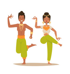 Indian woman man dancing isolated dancers vector