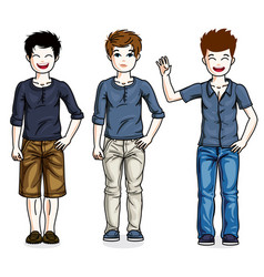 Beautiful happy young teenager boys posing vector